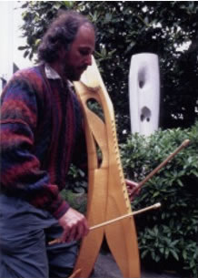 Michael Deason-Barrow plays Double Bowed Psaltery in Soundscape Improvisation in Barbara Hepworth Garden (with permission from Tate Gallery, St. Ives)